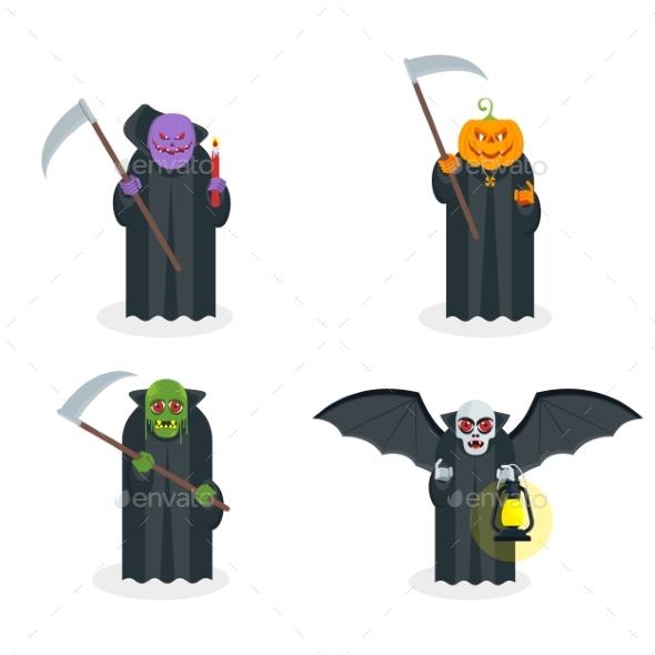 Set of Scary Halloween Zombies.