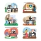 Stay Home in Quarantine Scene Set, Flat Vector - GraphicRiver Item for Sale