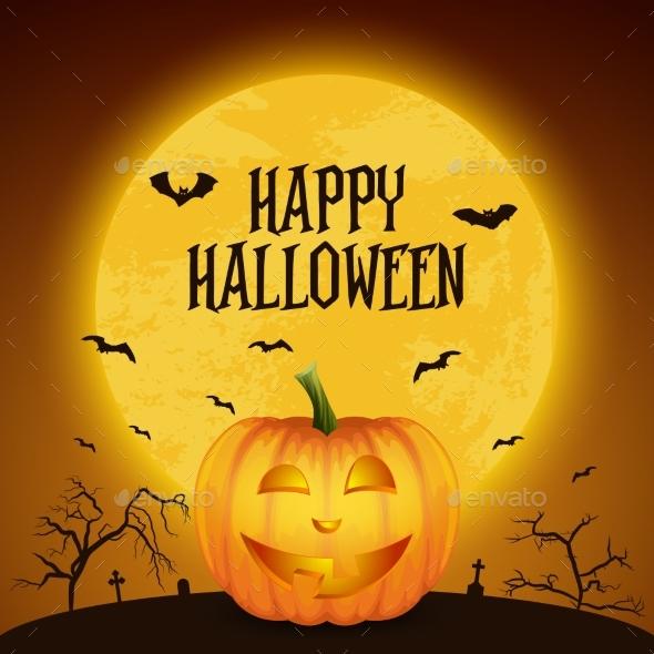 Happy Halloween Banner with Pumkin. VectorCartoon