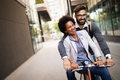 Happy young couple with bicycle. Love, relationship, people, freedom concept - PhotoDune Item for Sale