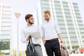 Business colleagues in shirt walking outdoors - PhotoDune Item for Sale