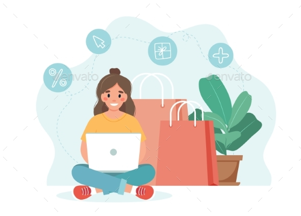 Online Shopping Concept with Woman