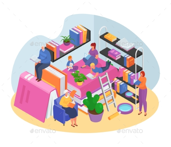 Isometric Reading Book with Family Concept