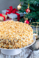 Carrot cake decorated with cream cheese frosting and walnuts - PhotoDune Item for Sale