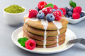 Matcha pancakes with condensed milk, blueberry and raspberry - PhotoDune Item for Sale