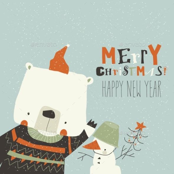 Cartoon Bear Waving Paw Merry Christmas