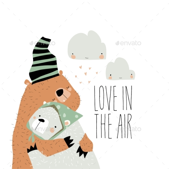 Valentine Love Designs with Bears Hugging