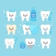 Teeth with Oral Hygiene Products Icons Set - GraphicRiver Item for Sale