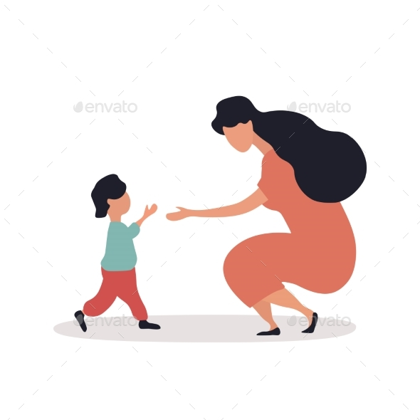 A Small Child Running Into the Arms
