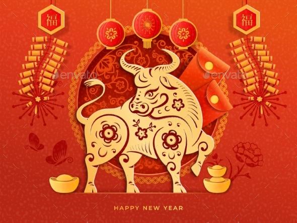 Golden Ox Zodiac Sign Bulls Head and Flowers