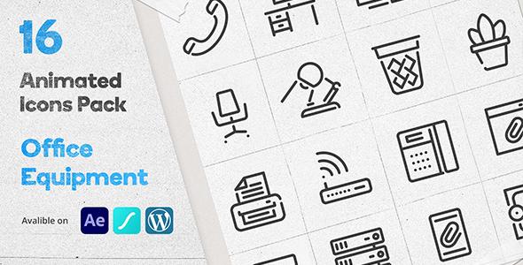 Office Equipment Animated Icons Pack - Wordpress Lottie Json Animation SVG