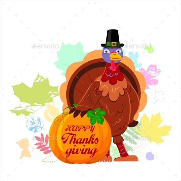 Cheerful Cartoon Turkey with Happy Thanksgiving