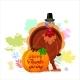 Cheerful Cartoon Turkey with Happy Thanksgiving - GraphicRiver Item for Sale