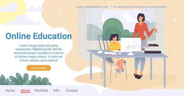 Online Education for Children at Home Landing Page