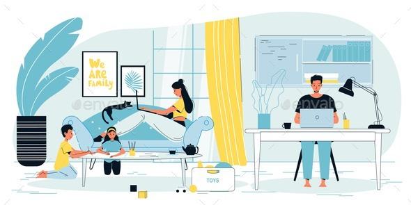 Cozy Home Workspace Freelancer Family Children
