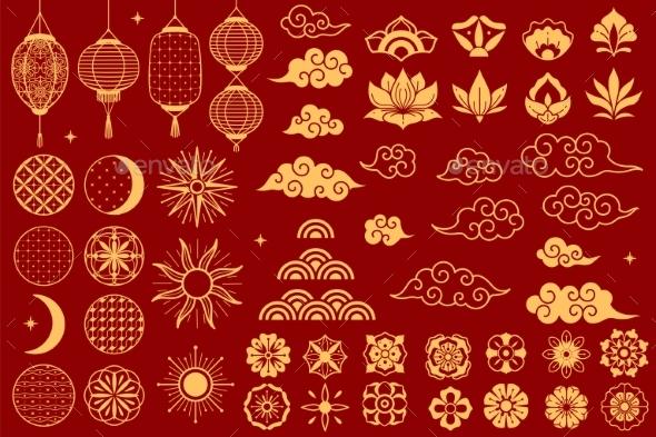 Asia Elements Chinese Festive Decorative Gold