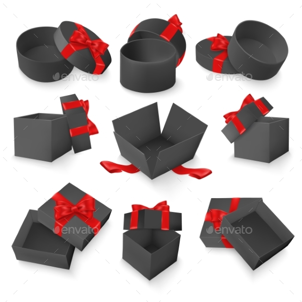 Vector Set of Gift Black Boxes with Red Bow