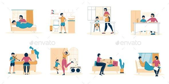 Parent Kid Daily Life in Quarantine Condition Set