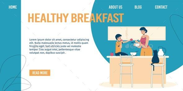 Healthy Breakfast for Children Landing Page Design