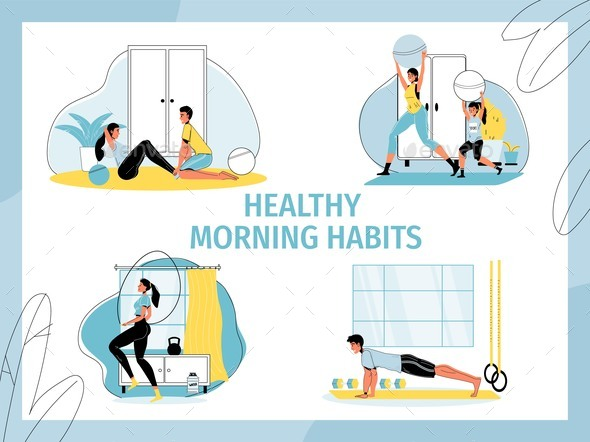 Healthy People Morning Habits Workout Activity Set