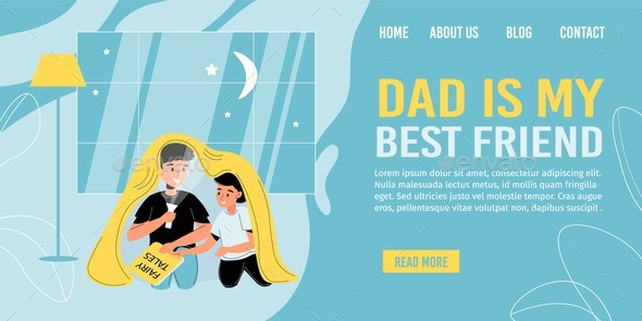 Father Son Spending Time Together Landing Page