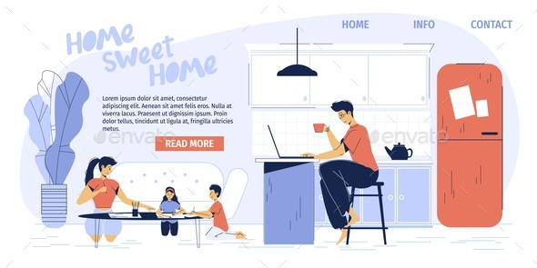 Happy Family Activity at Home Landing Page Design