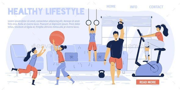 Happy Healthy Family Active Lifestyle Landing Page