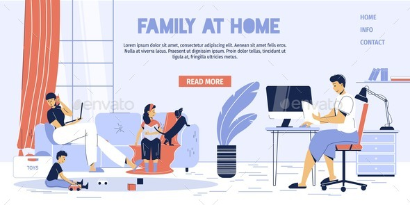Family Freelancer Kid Stay at Home Landing Page