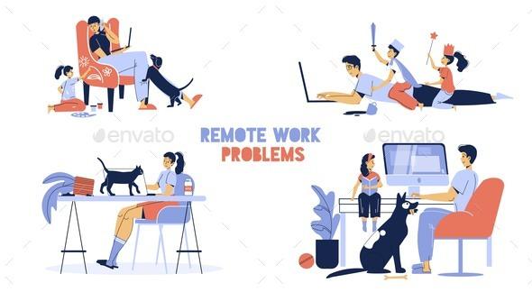 Remote Work Problem Home Office Disadvantage Set