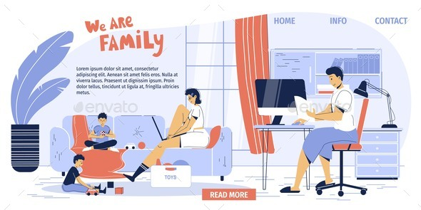 Happy Family at Home Office Workplace Landing Page
