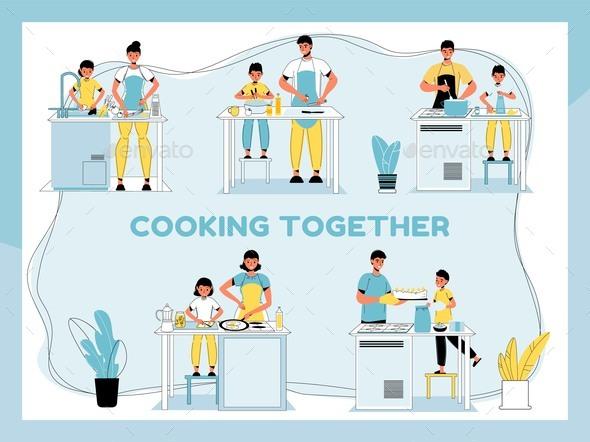 Parent Children Cooking Food Together at Home Set