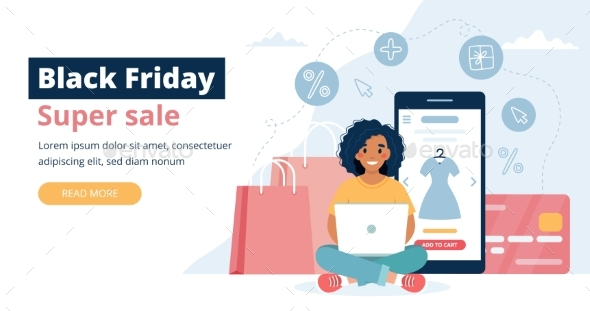 Black Friday Banner with Woman Holding a Laptop