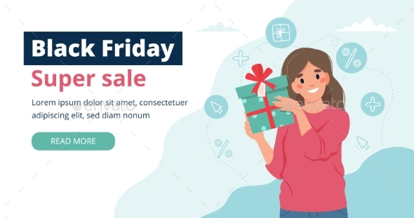 Black Friday Banner with Woman Holding a Gift Box
