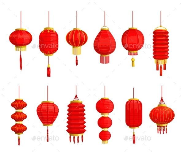Red Paper Lantern and Lamp Icons, Chinese New Year