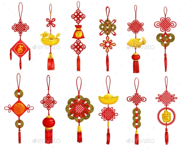 Chinese Lunar New Year Red Decoration Icons