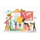 Tiny Office People Making Mark in Business Plan - GraphicRiver Item for Sale