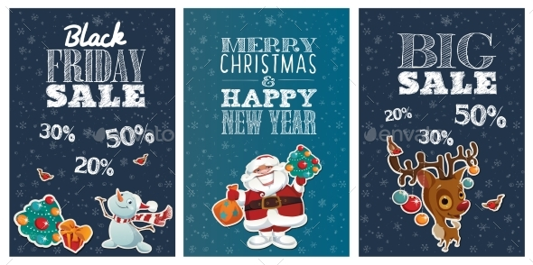 Black Friday Holiday Sale Posters with Cute
