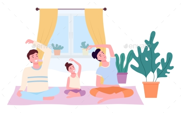 Mother, Father and Daughter Doing Yoga in Lotus