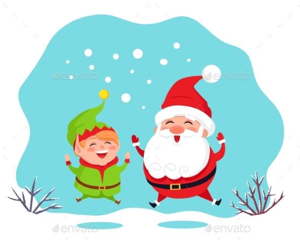 Elf Helper and Santa Claus Jumping Card Vector