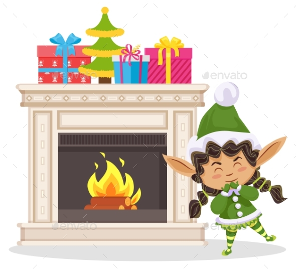 Xmas Elf in House, Boxes with Gifts on Fireplace