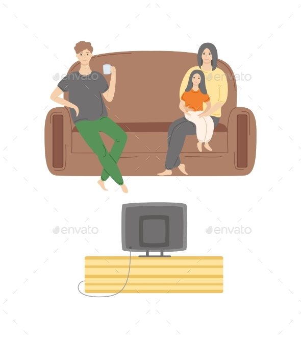 Kid Sitting on Mothers Lap, Father Watching TV