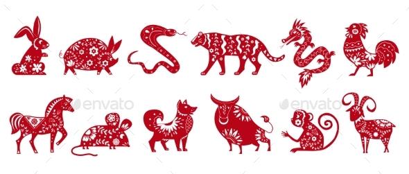 Chinese Zodiac Animal Symbols Isolated on White