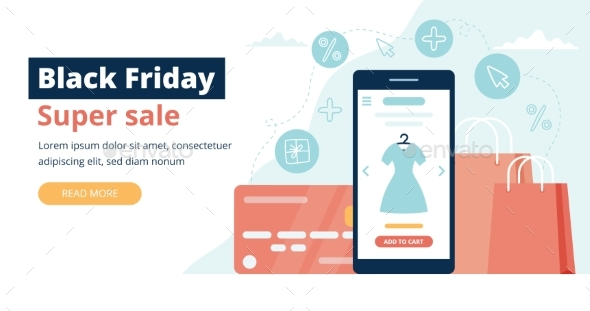 Black Friday Banner with Phone Screen, Shopping