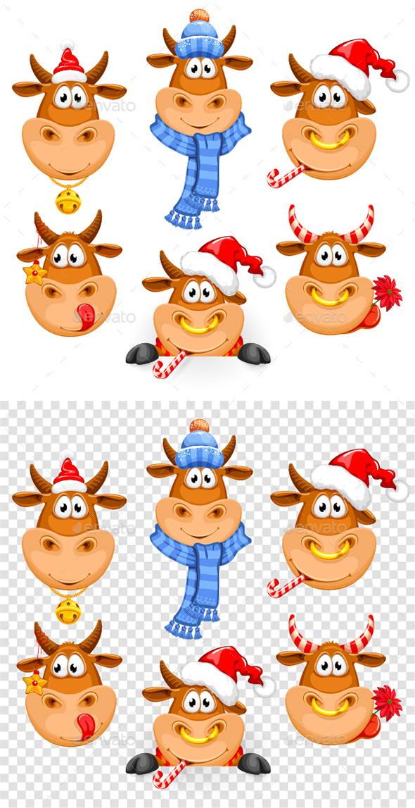 Cheerful Bulls New Year Set