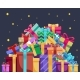 Christmas Cartoon Gift Box New Year Pile of Gifts - GraphicRiver Item for Sale