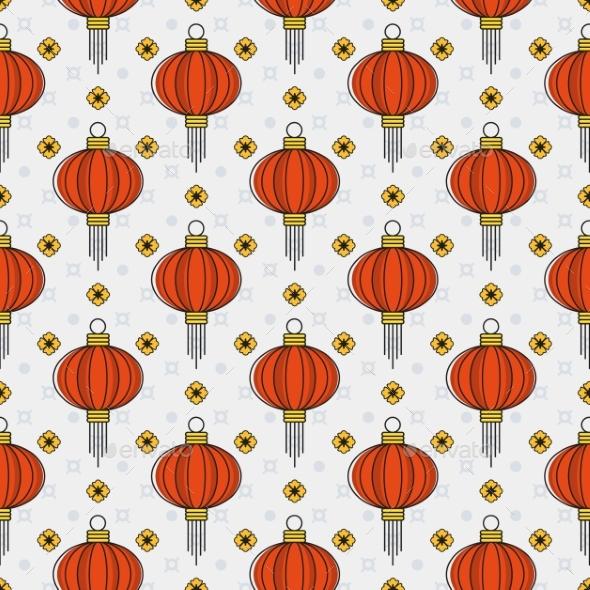 Chinese Paper Lanterns Seamless Pattern