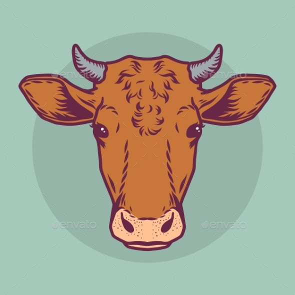 Cow Brown Head Vector Icon