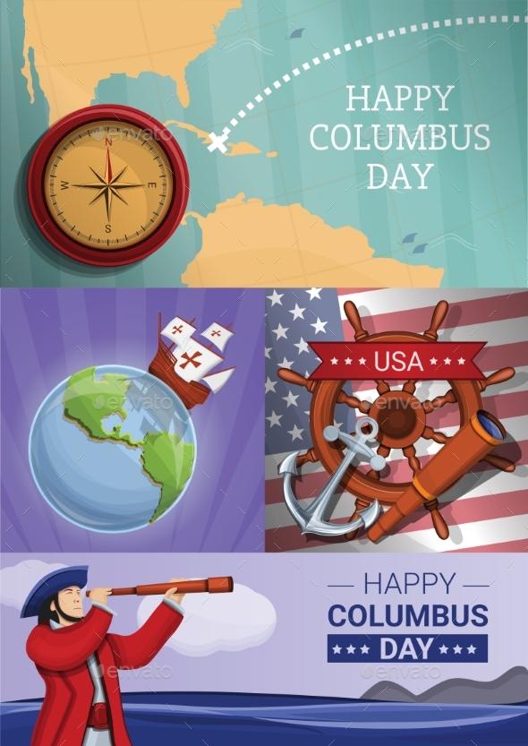 Columbus Day Banner Set Cartoon Style