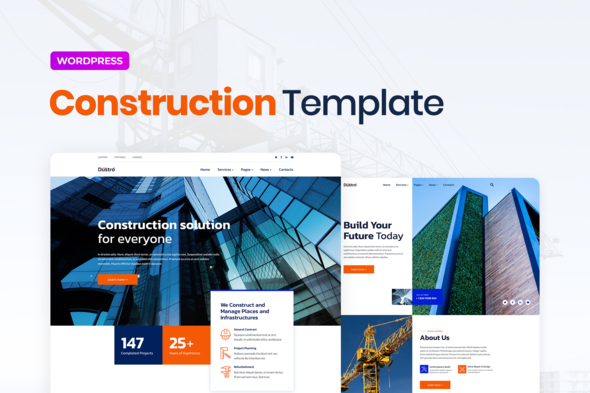 Dustro – Construction Company Elementor Template Kit