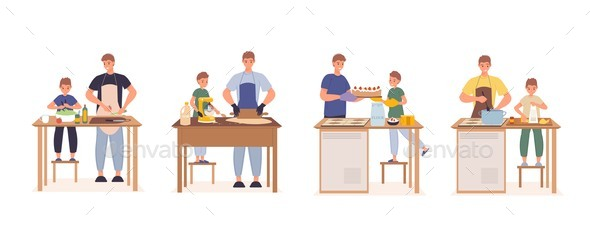 Happy Father Son Cooking Together at Kitchen Set